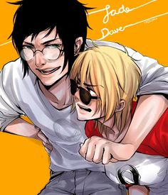 Tags: Anime, Frown, Messy Hair, Homestuck, Dave Strider, Jade Harley, D: