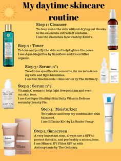 All the steps in my daytime skincare routine with the products I am currently using, featuring The Ordinary and Beauty pie. I have combination skin and it's prone to brea Skin Care Routine For Teens, Skin Care Routine Steps, Skin Routine, Night Routine, Makeup Tricks, Makeup Tutorials, Make Up Eraser, Haut Routine, The Ordinary Skincare Routine
