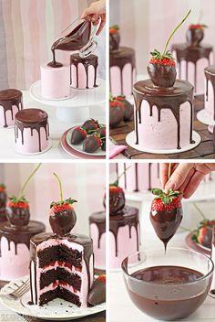 Chocolate-Covered Strawberry Cakes - SugarHero