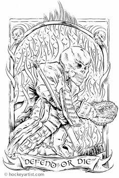 Defend or DIe - Hockey goalie skull. Pen and Ink by hockey artist Cam Wilson.