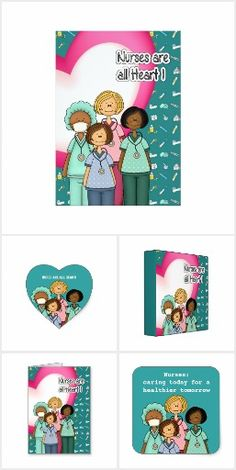 NURSES ARE ALL HEART. Nurse Appreciation, National Nurses Day, National Nurses Week, Thank You Nurse, Graduation from Nursing School Collection of Greeting Cards and Gifts, T-Shirts and Sweatshirts for nurses. From the artofmairin store at zazzle.com