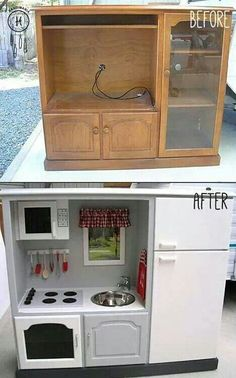 Upcycled play kitchen, I so want to make this for Kinsley and Kaia! Just haven't found the right piece of old entertainment center yet!