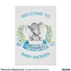 Watercolor Elephant Boy Baby Shower Poster