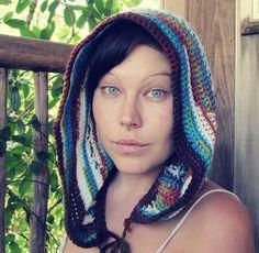 Multi colored crochet hood by ladyyarnbomber on Etsy