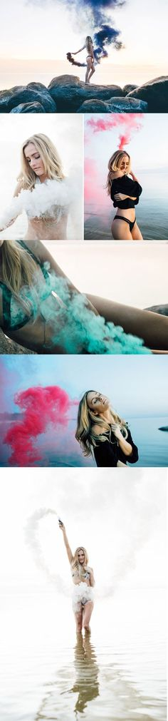 Photoshoot ideas | Smoke Bomb Photography Beach -Fun beach photo inspiration