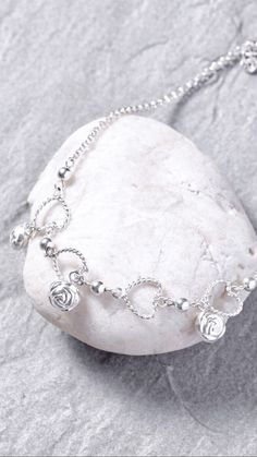 Sterling silver anklet Silver anklet  rose by OneYellowButterflyy