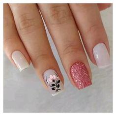 Pink Nail Art, Glitter Nail Art, Cute Acrylic Nails, Acrylic Nail Designs, Nail Art Designs, Nails Design, Design Art, Design Ideas, Classy Nails