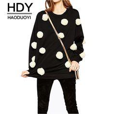 HDY Haoduoyi Autumn Fashion Women Crew-neck Casual Preppy-style Black Sweatshirt Pompoms Loose Hoodies Pullover Sweatshirt