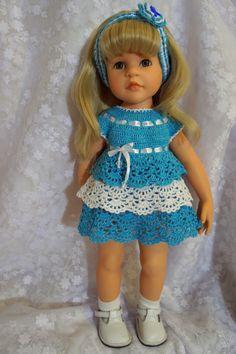 Яндекс.Фотки Crochet Doll Clothes, Doll Clothes Patterns, Clothing Patterns, Gotz Dolls, Ag Dolls, Baby Barbie, American Girl Clothes, Vintage Dolls, Baby Knitting