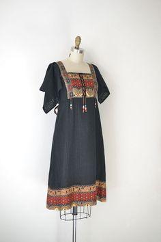 1970s Black Dress / 70s Boho Hippie Batik Gauze by FemaleHysteria