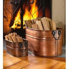 Large Hand-Crafted Copper-Plated Steel Oval Tub  Solves my question about how to store firewood in the living room.