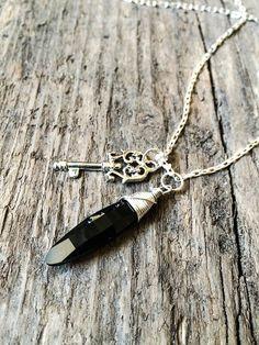 Jet Black Swarovski Crystal Pendant Necklace 32mm by DevikaBox #keynecklace #jewelry #christmasshopping #christmasgift #etsyjewelry #etsy #fashion #swarovskicrystal