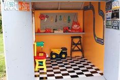 Toddler garage- a man needs a space for his tools!