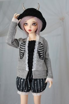 BJD Cardigan Sweater for Minifee Grey with Black by guppykisses