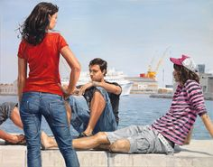 Urban Scapes And Youngster's Street Lifestyle In Melancholic Paintings By Michele Del Campo Italian Painters, Italian Artist, Spanish Painters, Graffiti O, Skyline, Her Majesty The Queen, Photorealism, Art Studies, Pictures To Paint