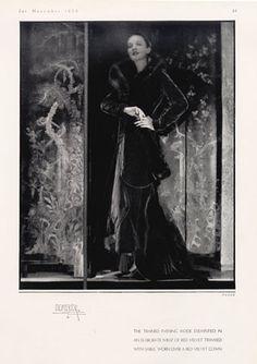 jean patou fashion photos | Jean Patou (Couture) 1930 Velvet Gown, Demeyer
