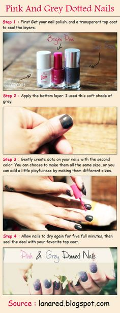 Pink And Grey Dotted Nails | PinTutorials