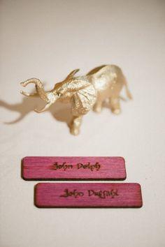DIY spray painted animal place cards. Photo by delbarrmoradi.com