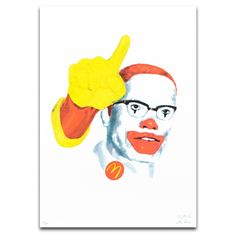 The McRevolutionaries (MalcolmMcX)   Limited edition CYMK screen print by The Yes Men. The Yes Men have collaborated with us to produce a series of original screenprints that depict the McRevolutionaries – a series of fictional characters that suggest a hybrid between a well know fast food chain mascot and historic revolutionary figures. Part of Dundee Contemporary Arts Editions programme.