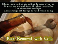 Coke contains acid that removes grease and blood stains from fabric.add a can to your normal laundry detergent. Also cleans hard water from bathroom tiles.and toilet bowls. Rust and grease on anything.soak in coke. Coca Cola, How To Remove Rust, Removing Rust, Laundry Detergent, Things To Know, Clean House, Good To Know, Home Remedies, Cleaning Hacks