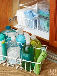 Overhaul the area under your kitchen sink with our genius storage solutions.