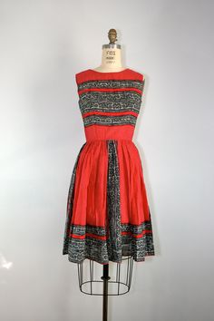 SALE . vintage . 1960s . ANNE FOGARTY . cotton . swing . dress. $91.80, via Etsy.