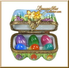 Limoges - Easter Egg Carton, filled with Colored Easter Eggs - by Beauchamp