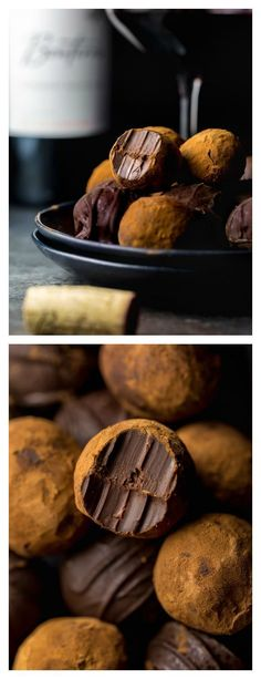 Wine Chocolate BonBons Red Wine Chocolate Truffles are made with just 5 ingredients!Red Wine Chocolate Truffles are made with just 5 ingredients! Chocolate Wine, Chocolate Truffles, Chocolate Desserts, Chocolate Brownies, Choco Truffle, No Bake Treats, Yummy Treats, Delicious Desserts, Yummy Food