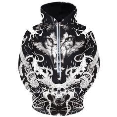 Cloudstyle Skulls And Wolf Hoodies Hoodies Long Sleeve Hoody Animals Tracksuits Cool Design Pullover Men's Winter Sportswear Wolf Hoodie, Hoody, Pullover, Cool Hoodies, Hoodie Dress, Sportswear, Skulls, Sweatshirts, 3d