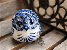 Blue Ceramic Owl