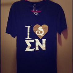 """SOLD! Greek """"I  Sigma Nu"""" V-neck Tee (NWT) Size M. Never worn. Still has the tags! Really soft. The letters look wrinkly because the shirt has been folded for a long time. Back of shirt has the company name from where they were ordered. Canvas Tops"""