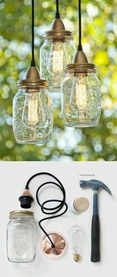 DIY Mason Jar Lights http://www.apartmentapothecary.com/wordpress/?photo=100-diy-home-projects#comment-11298