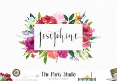 Floral Watercolor Logo Design - website logo, boutique logo, creative business branding or small business logo.