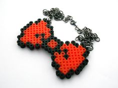 8 Bit Orange Bow Tie  Perler Necklace by LilRedsBoutique on Etsy, €6.00