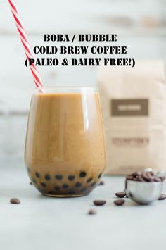 Homemade recipe for Boba / Bubble Cold Brew Coffee ! This recipe is dairy free and PALEO