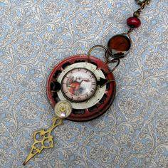Necklace - STEAMPUNK - Alice In Wonderland White Rabbit - ViNtaGe Clock  Assemblage Necklace -. $35.00