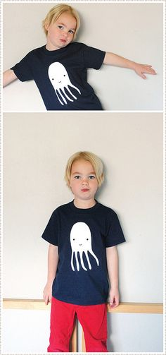 Freezer-paper stencil tees. Includes download of this sweet little octopus. MerMagDIYtshirts1 by mer mag, via Flickr