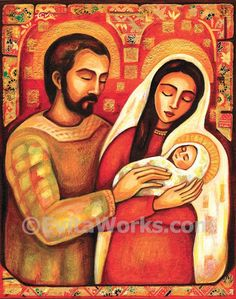 Nativity Holy Family Joseph Mary with Child Baby Jesus Religious painting Christian folk art, greeting card, Art Card (A5), 5.8x8.3