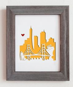 Cut out city scape of San Francisco, CA and the Golden Gate Bridge.decoration!