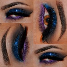 Blue glitter eyeshadow with purple Pop @ makeuplovexo