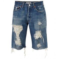 The Walking Denim Shorts (19445 RSD) ❤ liked on Polyvore featuring shorts, summer shorts, ripped jean shorts, destroyed denim shorts, distressed jean shorts and short shorts