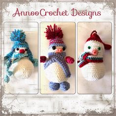 A trio of snowmen ornaments, free crochet pattern, thanks so #Annoo yet more freebies for us all to love xox
