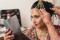 One of the most important part of the bridal jewelry set is a maang tikka and/or a jhoomar for Muslim brides. Some brides choose very simple one stranded tikka's while other brides go grand with the whole head variety.