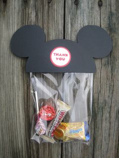 Mickey Mouse Treat Bag---would be cute to pass out for the long bus ride :)