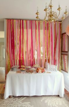 crepe paper curtain - ombre pink bridal shower with silver instead of gold Crepe Paper Backdrop, Streamer Backdrop, Streamers, Backdrops, Pink Backdrop, Bridal Shower Favors, Bridal Shower Decorations, Paper Decorations, Bridal Shower Invitations