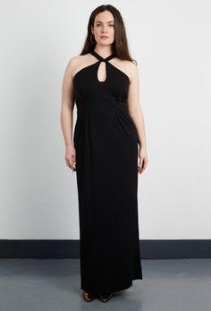 Crepe Jersey Halter Maxi Dress - Plus Size Clothing
