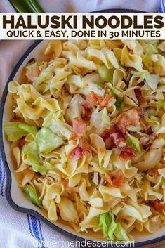 Haluski Noodles - Dinner, then Dessert Cabbage Recipes, Pork Recipes, Pasta Recipes, Chicken Recipes, Dinner Recipes, Cooking Recipes, Cabbage And Smoked Sausage, Bacon Fried Cabbage, Veggie Dishes