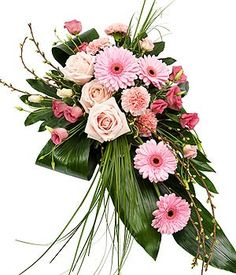 A very pretty pink single ended spray. Roses, Gerbera, Lisianthus and Carnations are lovingly married with variegated Pittosporum, Aralia and Aspidistra leaves, Bear Grass and Cherry Blossom. Casket Flowers, Grave Flowers, Church Flowers, Funeral Flowers, All Flowers, Funeral Floral Arrangements, Large Flower Arrangements, Funeral Sprays, Casket Sprays