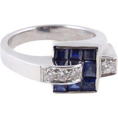 Wow!!!   So amazing. A Crackerjack of a 1930's Sapphire Diamond Platinum Ring