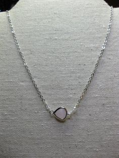 Modern simple minimalist petite jewelry Everyday trendy faceted pink glass teardrop charm silver plated necklace Charm Pendant silver - pinned by pin4etsy.com